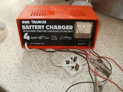 Vintage Fki Taurus 4 Amp Battery Charger, For 12V Batteries