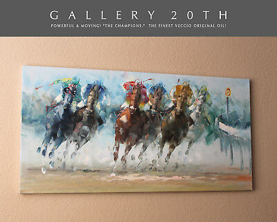 """""""Champions"""" Superb Orig Oil Painting By Veccio! Vtg Horse Art After Leroy Neiman"""