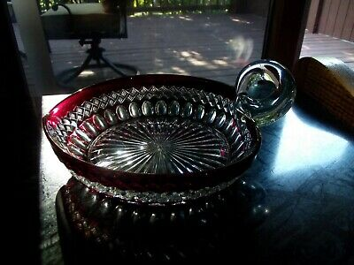 Serving Nappy Bowl Dish Handle Westmoreland Glass Ruby Red Stain Waterford Heart