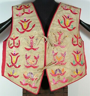 ca1890s NATIVE AMERICAN SANTEE SIOUX INDIAN QUILL DECORATED HIDE AND CLOTH VEST