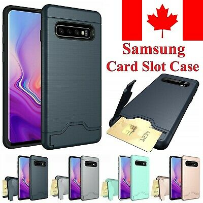 For Samsung Galaxy S10 / Plus Case - Shockproof KickStand Card Slot Wallet Cover