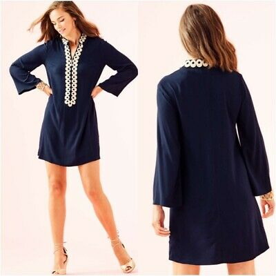 bcefbaf8374c9e Lilly Pulitzer Gracelynn Stretch Tunic Dress True Navy Gold Lace Trim  Womens 6