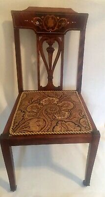 Antique Brown Wood Armless Chair Inlay Design Back & Paisley Fabric Seat