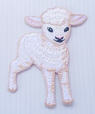 Red Plaid Farm Country Lamb Sheep Embroidery Patch Applique