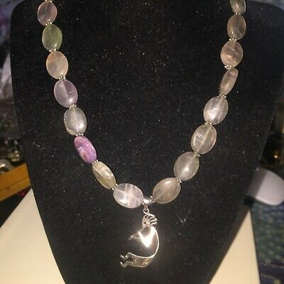 """Vintage 18""""  Artisan Signed 925 Sterling Silver Stone Necklace ~ 58+ grams"""