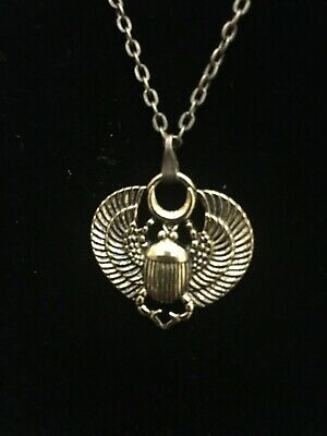 Ancient Egyptian Antique Gold Tone Scarab Pendant Jewelry Fashion Necklace