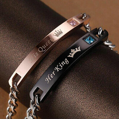 AG_ His Queen Her King Stainless Steel His and Hers Couple Bracelet Jewelry Dote