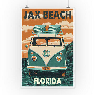 Jax Beach, Florida - Camper Van Letterpress (Art Posters, Wood & Metal Signs)