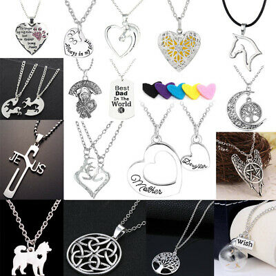 Hollow Heart Horse Tree Of Life Dog Paw Wish Glass Necklace Chain Family Friend