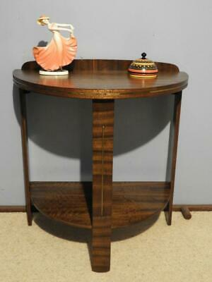 ANTIQUE VINTAGE ART DECO HALF ROUND HALL DISPLAY LAMP SIDE CONSOLE TABLE 1930s