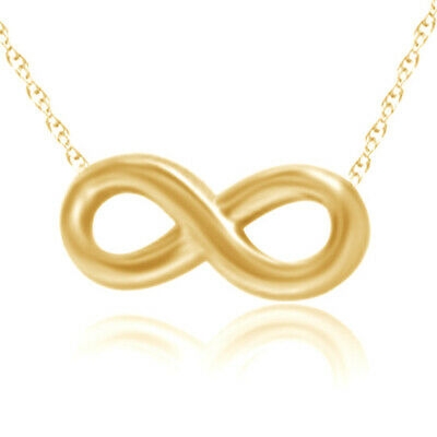 """Valentine's Day Infinity Pendant 18""""Chain 18k Yellow Gold Over Sterling Silver"""