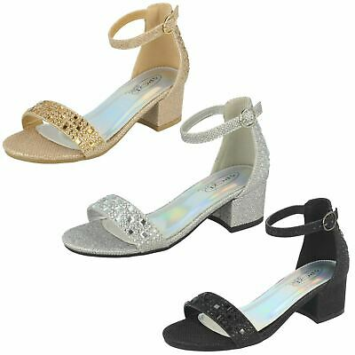Girls Spot On Mid Heel Open Toe Casual Buckled Glitter Sandals H1R101