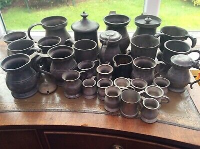 Antique Pewter Tankards And Half Pint And Quarter Gill Measures