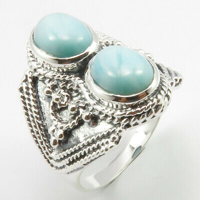 925 Stamped Sterling Silver Genuine LARIMAR 2 Gemstones Ancient Look Ring Size 8