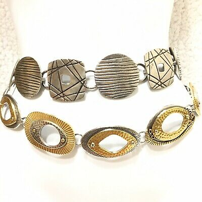 Lot of 2 Chicos Womens Belts Mixed Metal Chain Silver Gold Artsy Western Boho