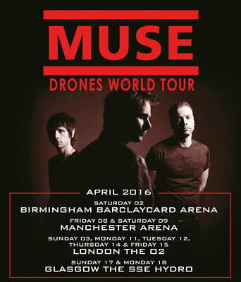 62641 MUSE Drones 2016 UK World Arena Tour LONDON Wall Poster Print UK