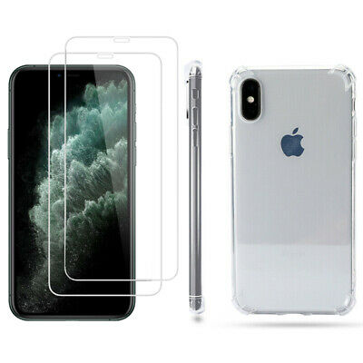 Case and 2PK Screen Protectors for iPhone 11 Pro Max 11 XR X, Xs Max Clear