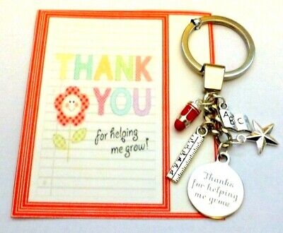 Teacher Thank you for helping me Grow Key Ring Gift End of Term Gift on Card