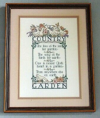 Vintage Cross Stitch Picture Sampler Country Garden - Complete with Frame