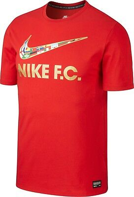 new styles new concept popular stores NEW NIKE FC Swoosh Flag Men's T-Shirt (911400-657) Red Gold ...