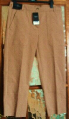 BNWT NEXT Deep Tan TOFFEE CARAMEL Brown 'Jodphur' Stitched CROPPED Trousers 14 L
