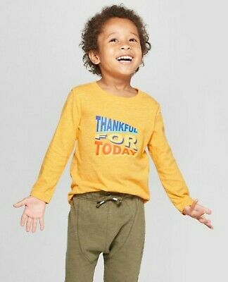 """NWT Cat & Jack Baby Toddler Boys Shirt """"Thankful For Today"""" Yellow 12Months, 5T"""