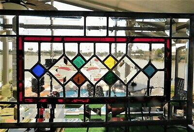 Abstract beveled stained glass panel contemporary made with lead Came channel
