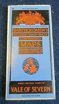 BARTHOLOMEW'S REVISED HALF INCH CONTOURED MAP-Vale of Severn Sheet 18 May 1947