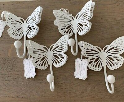 Unusual Vintage French Looking Metal Butterfly Coat Towel Hooks White X 4