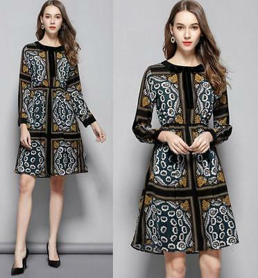 Women's Vintage Flower Printed Long-sleeves Bowknot Slim Cocktail Party Dresses