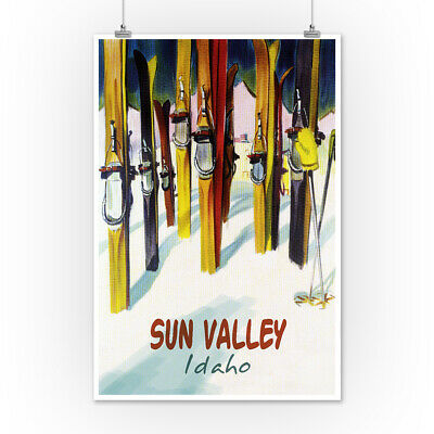 Sun Valley, Idaho - Colorful Skis (Art Posters, Wood & Metal Signs, Totes)