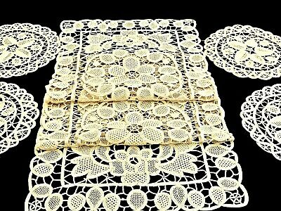 Fabulous Hand Crafted Ecru Cotton Point De Venise Table Runner & 4 Placemats