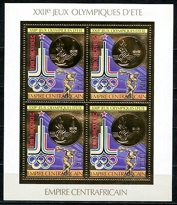 Centre Afrique 1981 Olympic games JO Moscou Gold Foil Or MICHEL 622 A 60 euros