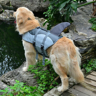 Pets Dogs Swim Safety Life Jacket Buoyancy Shark Float Vest Preserver Polyester