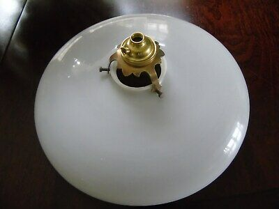 Vintage French Opaline Ceiling Light Shade  With Original Brass Galerie