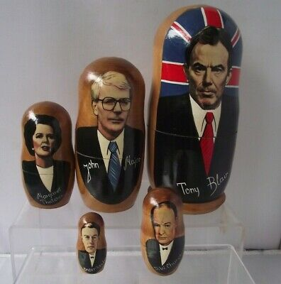 Russian Type Nesting Dolls English Political Prime Ministers X5 Blair Thatcher