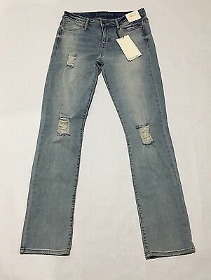 Calvin Klein Women's Jeans 27 x 32 Distressed Straight Leg Perfect Blue NWT
