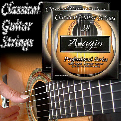 2 SETS Of Adagio Pro Nylon Classical Guitar Strings - Normal Tension Set + Chart