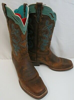 Justin Women's 10 B Silver Collection Sevana Tan Turqouise Stitch Western Boots