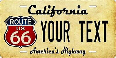 Route 66 v2 License Plate Personalized Car Auto Bike Moped Motorcycle
