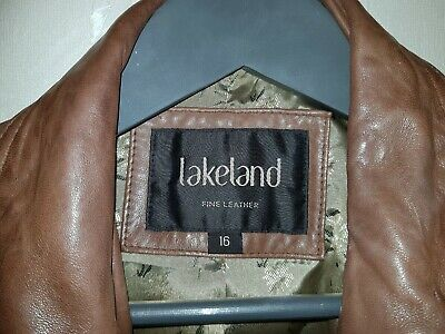 Ladies LAKELAND tan Real Leather Jacket Coat -Size 16 - used in great condition