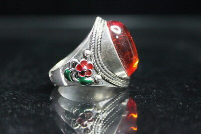 Collection Exquisite Handicraft Miao Silver Carve Flower Crystal Auspicious Ring