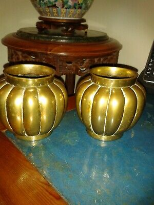 pair of 18th century polished bronze he gua pumpkin  incense burners-censers