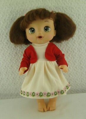 """Doll Clothes Handmade Floral Dress Red Bolero Outfit 14.5"""" Baby Alive Doll"""