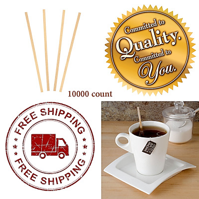 "Royal 10000 Count Wood Coffee Beverage Stirrers 5.5"" Craft Popsicle 10x1000 Best"