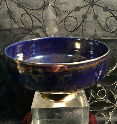 Andrew Gibson Iridescent Glazed Bowl with Gold Enamel Decoration 17cm wide