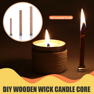 20PCS New Core Parffin Wax Craft Candles Wick Wooden Sustainer Tab Making Supply