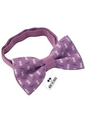 Purple Dog Pattern Bow Tie Pre-tied Shape for any gender & age, boys Girls