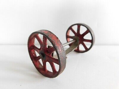 Antique Hubley Cast Iron Wheels & Axle for Vintage Toy Car Truck Marked