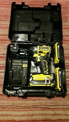 New Stanley fatmax cordless Impact Driver 3x18v 2ah batteries charger FMC647